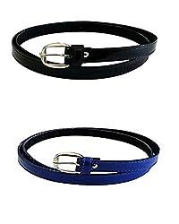 Vbirds Girl's PU leather belts set of 2 combo (Black & Blue)(VB/WOMENBELTS/BKBLUE)