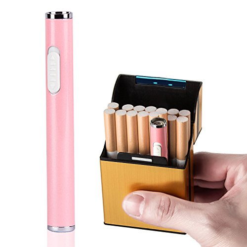 LUWANZ Encendedor eléctrico USB Mechero eléctrico recargable resistente al viento Lighter Portátil USB sin llama en forma y tamaño de un cigarrillo (con el color rosa)