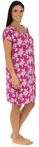 bSoft chemise de nuit pyjama à manches courtes à boutons pour femme en viscose de bambou Océan Corail