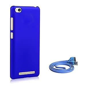 SDO™ Luxury Matte Finish Rubberised Slim Hard Case Back Cover for Redmi 3S (Blue) + Micro USB Charging Cable