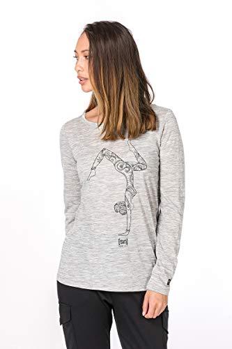 super.natural Damen Langarm-Shirt mit Aufdruck, Mit Merinowolle, W GRAPHIC LS 140, Größe: S, Farbe: Hellgrau -
