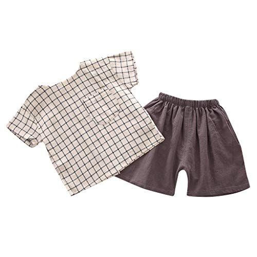Baby Set Gitter T-Shirt Tops + Soild Shorts Outfits Set Kleidung