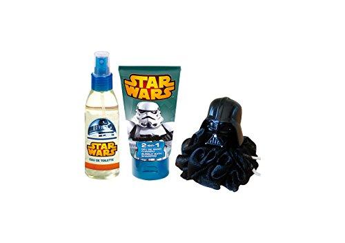 Star Wars Coffret Cadeau Eau de Toilette + Gel Douche/Shampooing 2 en 1 avec Une Éponge 3D 140 ml