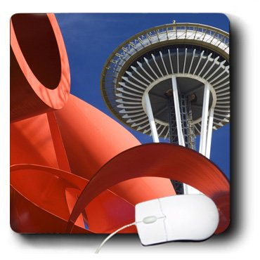 3dRose LLC 8 x 8 x 0.25 Inches Mouse Pad, Seattle, Space Needle, Olympic Iliad Sculpture - Jamie and Judy Wild