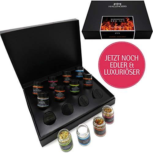 Hallingers 12er BBQ-Geschenk-Set mit Gewürzen aus aller Welt (220g) - Klassisches BBQ-Set (Design-Karton) - zu Muttertag & Vatertag (Geschenk-sets, Bbq)
