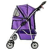 Räder Reise Kinderwagen Hund Katze Kinderwagen Wagen Puppy Jogger Hinterradbremsen Maximale Last 15kg (Farbe : Purple)