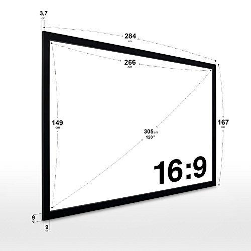 eSmart Germany MIRALE   Rahmenleinwand   266 x 149 cm (120″) 16:9   Vollmaskierung - 3