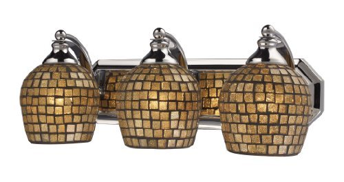 Elk 570-3C-GLD 3-Light Vanity In Polished Chrome and Gold Mosaic Glass by Elk