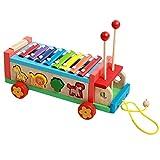 Gobus xilófono colorido de madera de juguete golpeando la forma animal del piano que hace juego los juguetes del tirón junto con el pequeño martillo de madera para el aprendizaje de la música de los niños