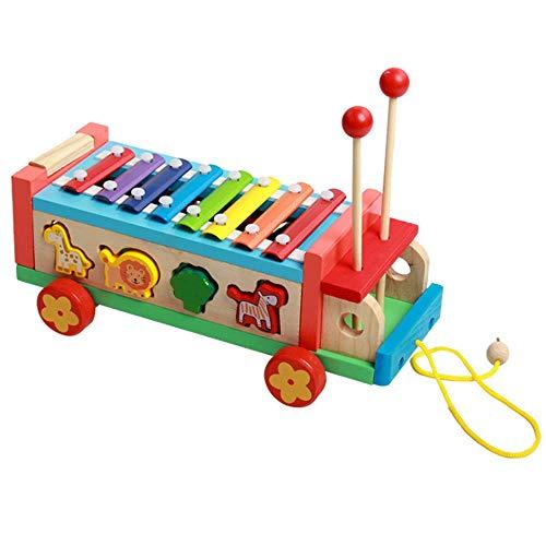 Gobus Hölzernes buntes Xylophon Spielzeug Das Klaviertierform zusammenbringt ziehen Auto entlang mit kleinen hölzernen Hammer für Das Kinder Musik Lernen