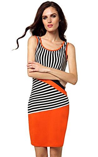 ZEARO Damen Elegant ärmellos gestreift Bodycon Minikleid Sommerkleid Strandkleid Cocktailkleid Abendkleid Schwarz+weiß