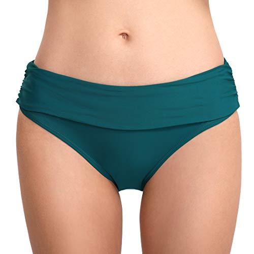 FEOYA Damen Tanga Bikinihose String Rüschen Brazilian Bikini Slip Schnüren Höschen Grün M (Grünen Höschen)
