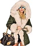 Aofur Damen Winter Freizeit Parka Jacke Faux Pelz Gefüttert Kapuzen Trench Top Coat Army Parka große größen 36-50 Overcoat Steppjacke (48/XXL, Grün Beige)