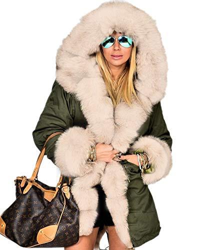 Aofur Damen Dick Faux Pelz Gefüttert Lange Winter Jacke Mantel Outdoor Kapuze Parka Freizeit Outwear Steppjacke Übergangsjacke Kapuzenpullover (36, Grün)