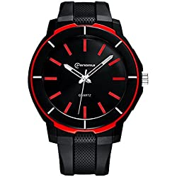 Boys Watches Leather Band 30m Waterproof Analog Quartz WristWatch(Red)