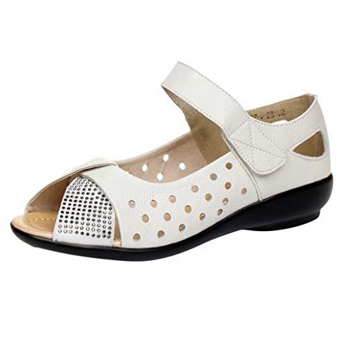 Damen Damen Peep Toe Sandalen Sommer Ausgeschnittene Schuhe Lässige Ballerinas Slip On Schuhe Gestanzte Open Toe Wedge Komfortarbeit Mary Jane Schuhe Strass Atmungsaktive Schuhe - Hi Heel Open-toe