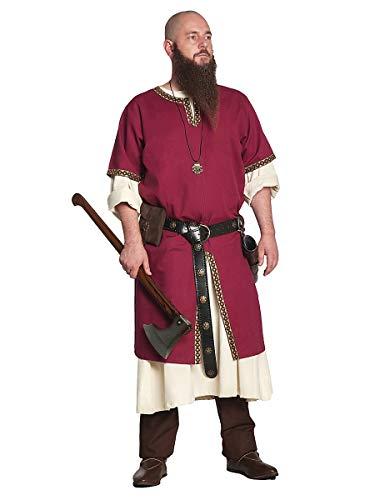 Andracor Edle verzierte Mittelalter Kurzarm Tunika - Gernot - Bordeaux - Größe XL - Individuell einsetzbar für LARP, Mittelalter, Fantasy & Cosplay (Männlichen Larp Kostüm)