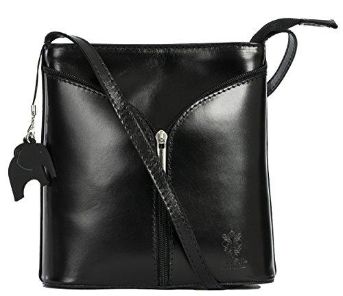 Big Handbag Shop Borsetta piccola a tracolla, vera pelle italiana Black - Plain