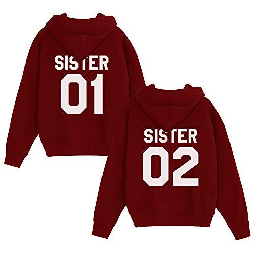 JWBBU Kapuzenpullis für Zwei Damen Freunde Sweatshirts Partner Look Pullover mit Kapuze Freundin Hoodie BFF Winter Pulli Freundschaft 2 stücke(Rot+Rot,sister-01-XS+02-XS)