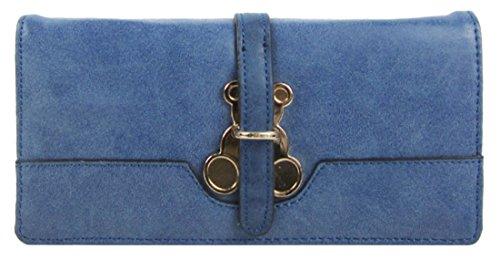 Kukubird Anteriore Orsacchiotto Metallo Dettaglio Grande Ladies Pochette Portafoglio Della Borsa Blue
