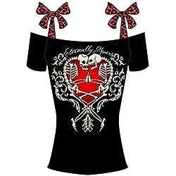 LemonGirl Mujeres Camiseta Calavera Tops Blusa Camisola de Proa