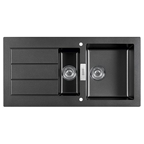 franke sirius sid651bl 15 bowl black tectonite reversible kitchen sink waste - Frank Kitchen Sink