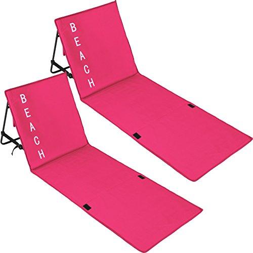 TecTake 800584 2er Set Gepolsterte Strandmatte mit Verstellbarer Rückenlehne und Praktischem Tragegurt - Diverse Farben - (Pink | Nr. 402989) - Schaumstoff-liege