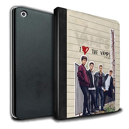 The Vamps PU Pelle Custodia/Cover/Caso Libro per Apple iPad 9.7 2018/6th Gen Tablet/Banda Diario Segreto Disegno