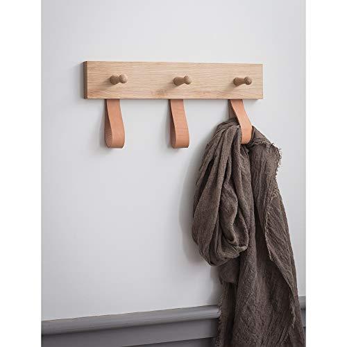 Shaker Haken (CKB Ltd Kleiderstange aus Eiche und Leder, 3 Haken, für Flur oder Schlafzimmer, Wandmontage, für Mäntel, Hüte, Schals, Schlüsselhaken, mittelgroß, 20 x 40 x 6,5 cm)