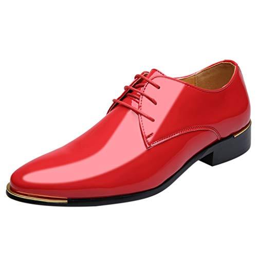FNKDOR Schuhe Herren Geschäft Lackleder Spitz Lederschuhe Formelle Kleidung Berufsschuhe Schnürsenkel Freizeit Business-Schuhe Kleid Schuhe Rot 41 EU