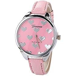 Vovotrade moda mujer cuero banda completa corazones aleación reloj de cuarzo reloj de pulsera de San Valentín (Rosa)