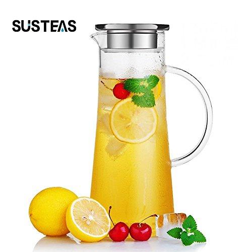1.5 Liter 53 Unzen Glas Krug karaffe mit Deckel Eistee Krug Wasserkrug Heißes Kaltes Wasser Eistee Wein Kaffee Milch und Saft Getränkekaraffe wasserkaraffe