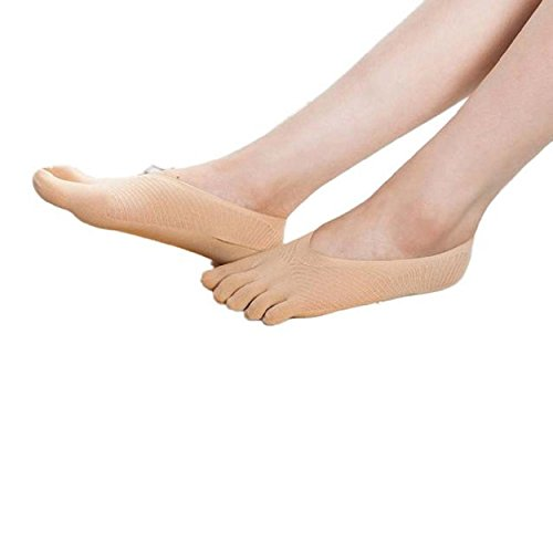 Yogogo Ankunft fünf Zehe-Socken-Slippers Unsichtbarkeit für Solid Color Socken (Khaki) (Spitzen Zehe-boot Herren)