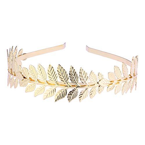 WINOMO Römische Göttin Blatt Niederlassungsleiter zierliche Braut Haar Krone Kleid Boho Haarreif (Gold) (Goldene Göttin Kostüm)