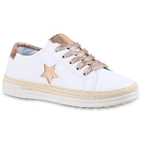 Weiße Damen Sneakers Metallic Stern Glitzer Sportschuhe Weiss Rose Gold