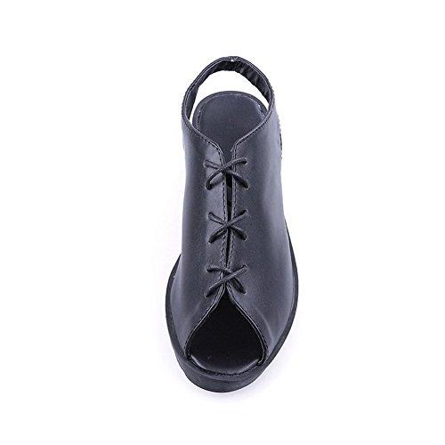 VogueZone009 Donna Finta Pelle Scamosciata Punta Aperta Tacco Basso Allacciare Puro Sandali Nero