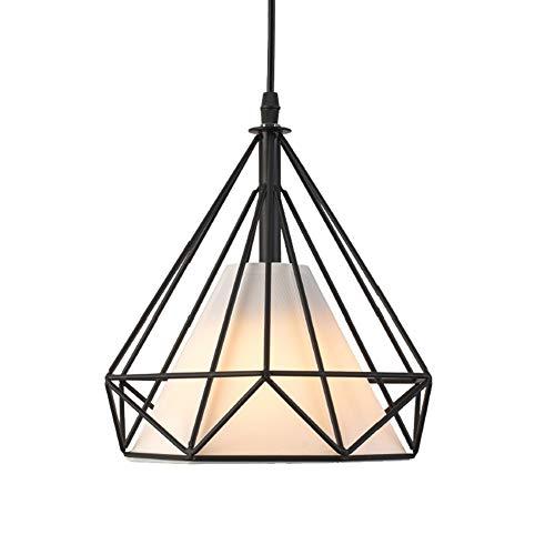 Pendelleuchte Retro Hängelampe Schwarz Tuch Schatten Höhenverstellbar Eisen Industrie Design 1- Flammig Decken-leuchte E27 Bar Café Pendellampe Esstisch Diamant Modellierung Lampen