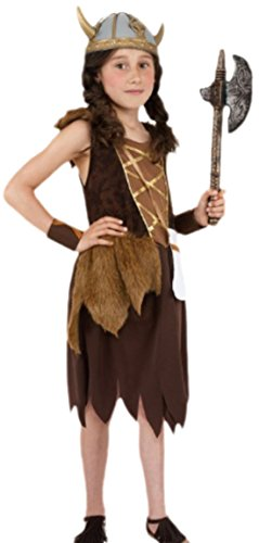 Fancy Ole - Mädchen Girl Kostüm Vikinger mit Kleid und Armbändern, 134/140, Braun