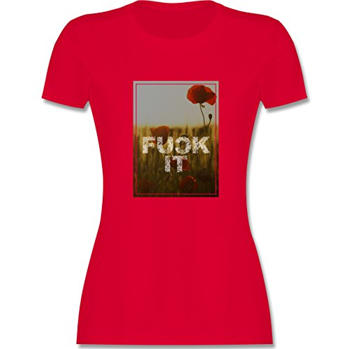 Statement Shirts - Fuck it Blume - tailliertes Premium T-Shirt mit Rundhalsausschnitt für Damen Rot