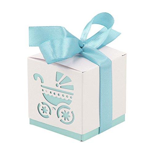 Yalulu 50 Stück Wiege Taufe Baby-Süßigkeit Baby Candy Box Candy Flaschen Geschenk Box Baby-Dusche-Bevorzugungen Taufe Geschenk (Blau)