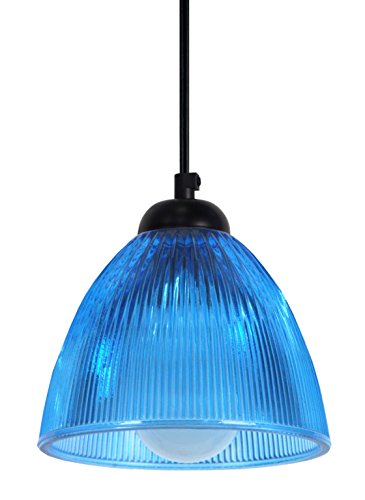 Tosel 11504 Suspension New York Verre 60 W E14 Bleu/Transparent