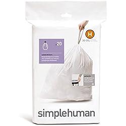 simplehuman CW0168 passgenaue Müllbeutel code H 30-35 L, Pack mit 20, Plastik, Weiß