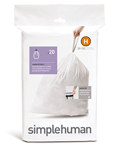 simplehuman Code H Custom Fit Bin Liners - 30-35 L, Pack of 20