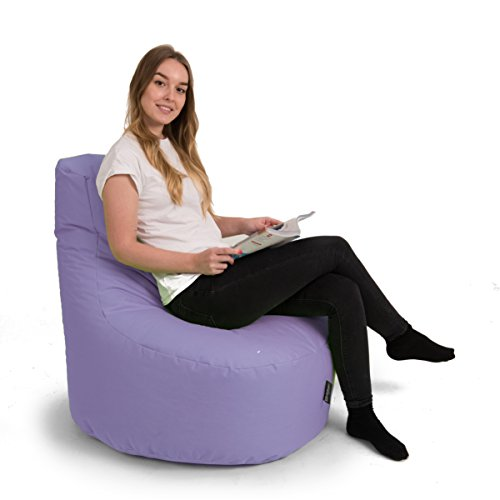 BuBiBag Gamer Kissen Lounge Sitzsack Sessel original Sitzkissen In & Outdoor geeignet fertig befüllt in 31 Farben (flieder)
