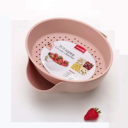 Obstteller Kunststoff Doppelschicht Abfluss Obstschale kreative Wohnzimmer Hause Küche waschen Korb Samen Dörrobst Teller, Rosa