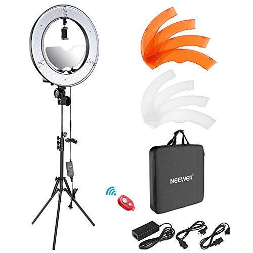 Neewer LED Ring Licht 18-Zoll-Außendurchmesser mit Oberen/Unterem Dual Blitzschuh, Spiegel, Smartphone Halter, Lichtständer, weiche Röhre, Farbfilter für Make-up Porträt Video (US/EU-Stecker)
