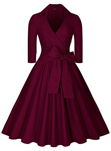 Miusol Donna Primavera Estate Vintage Retro 1950's a V Stand Collare Senza Maniche A-Line Wiggle Vestito Longuette