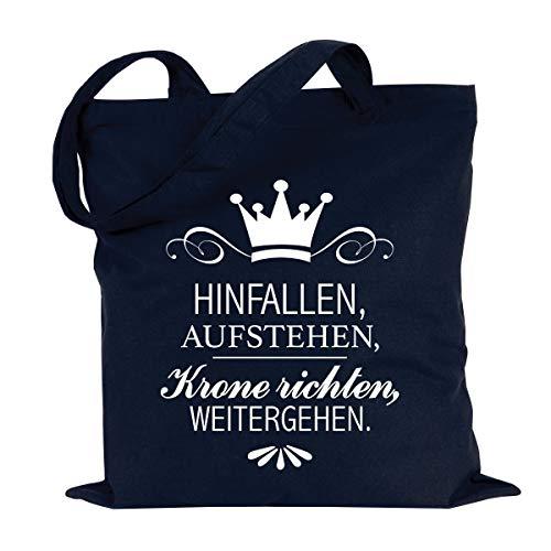 """JUNIWORDS Jutebeutel - Wähle ein Motiv & Farbe - """"Hinfallen, aufstehen, Krone richten, weitergehen"""" (Beutel: Marine Blau, Text: Weiß)"""