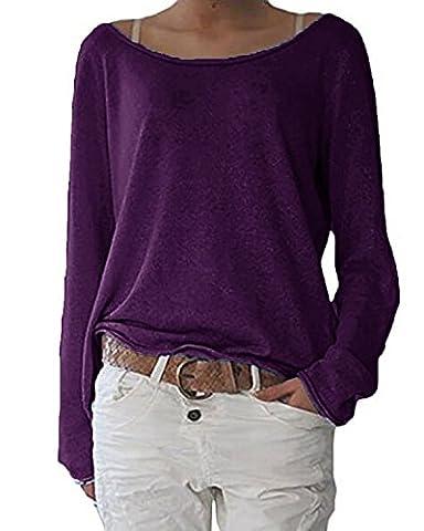 ZANZEA Damen Langarm Lose Bluse Hemd Shirt Oversize Sweatshirt Oberteil Tops Lila EU 40-42/Etikettgröße M