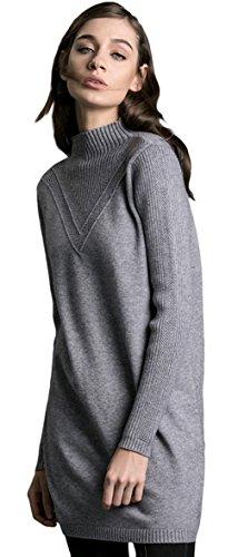 EOZY Sweater Chandail Femmes Chandail Manche Longue Pull Tops Tricot Uni Gris